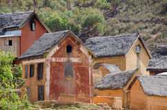 Mud and brick houses in a village outside of Antananarivo   Royalty Free Stock Images
