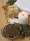 Mud,candle,dry lavender and soap Royalty Free Stock Photography