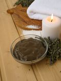 Mud,candle and towel Royalty Free Stock Photos
