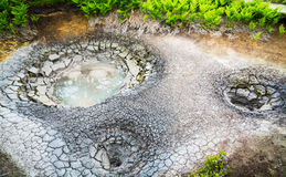 Mud cauldron in legendary Valley of Geysers. Kamchatka, Russia Royalty Free Stock Image