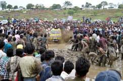 Mud challenge rally. Peoples participate in Mud challenge rally in Bhopal, Madhyapradesh India Royalty Free Stock Photo