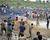 Mud challenge rally. Peoples participate in Mud challenge rally in Bhopal, Madhyapradesh India Stock Image