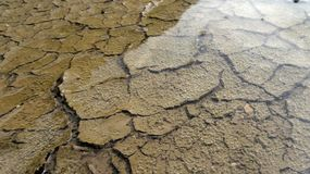 Mud cracks and bubble in water Royalty Free Stock Photography