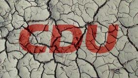 Mud Cracks SymbolizingThe Crisis of German Party CDU. BERLIN, GERMANY - OCTOBER 25, 2018: Mud Cracks SymbolizingThe Crisis of German Party CDU stock image