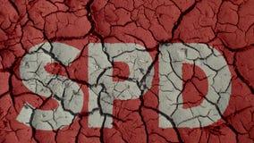 Mud Cracks SymbolizingThe Crisis of German Party SPD. BERLIN, GERMANY - OCTOBER 24, 2018: Mud Cracks SymbolizingThe Crisis of German Party SPD royalty free stock images