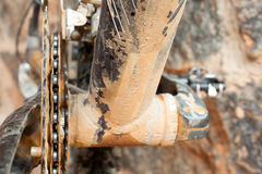 Mud Dirty Chainring and chain. In a mountain bike Royalty Free Stock Images