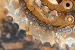 Mud Dirty Chainring and chain. In a mountain bike Royalty Free Stock Photos