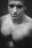 Mud dirty face man royalty free stock photography