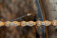 Mud dirty mountain bike chain Royalty Free Stock Images