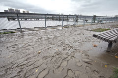 Mud everywhere after Hurricane Sandy, Manhattan Stock Photos