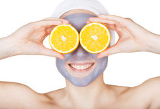 Mud face mask Royalty Free Stock Images