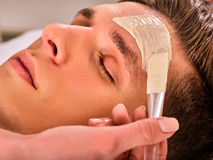 Mud facial mask of man in spa salon. Face massage . Mud facial mask of man in spa salon. Massage with clay full face. Man lying on spa bed. Beautician with bowl Stock Images