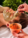 Mud facial mask of woman in spa salon. Face massage . Royalty Free Stock Photos