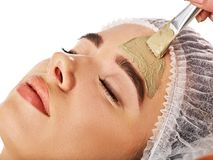 Mud facial mask of woman in spa salon. Face massage. stock photography