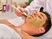 Mud facial mask of woman in spa salon. Face massage. Stock Image