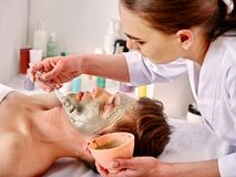 Mud facial mask of woman in spa salon. Face massage . Mud facial mask of women in spa salon. Massage with clay full face. Girl on with therapy room. Female royalty free stock photos