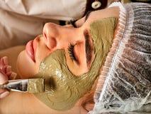 Mud facial mask of woman in spa salon. Face procedure . Stock Photos
