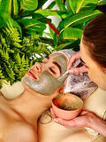 Mud facial mask of woman in spa salon. Face procedure . Royalty Free Stock Photography