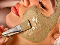 Mud facial mask of woman in spa salon. Massage with clay full face. Stock Photo