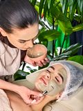 Mud facial mask of woman in spa salon. Cleansing purifying. stock photos