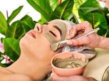 Mud facial mask of woman in spa salon. Face procedure. stock photography