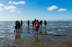 Mud Flat Hiking Stock Photography