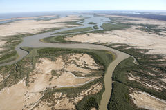 Mud flats. Derby Western Australia on King sound and the May river to the north of the town with mud flats Stock Photos