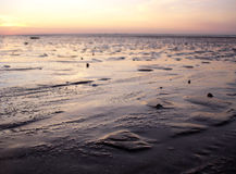 Mud Flats at Dusk. Tide out at dusk in these mud flats Stock Photos