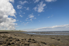 Mud-flats of Waddensea and Church Stock Image