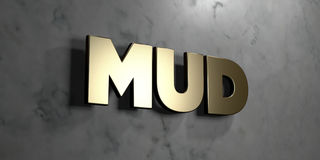 Mud - Gold sign mounted on glossy marble wall  - 3D rendered royalty free stock illustration Royalty Free Stock Image