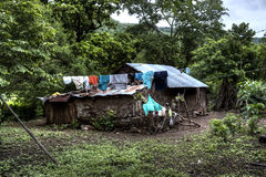 Mud house with clothes drying in rural Nicaragua Stock Image