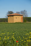 Mud hut in the field in spring Stock Images