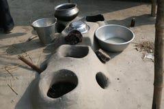 Mud kitchen stove in village outside home, Kumrokhali, West Bengal, India Royalty Free Stock Photo