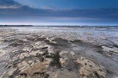 Mud at low tide on North sea coast Stock Image