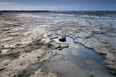 Mud at low tide on North sea Stock Image