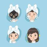 Mud mask treatment for women vector illustration