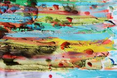 Mud, paint, watercolor hues, abstract background. Muddy lines, wax, paint, watercolor hues, colorful abstract background in red, green, gray and pink hues stock photography