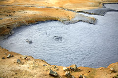Mud pool. Bubbling mud pool Namaskaro Hverarond Iceland Royalty Free Stock Images