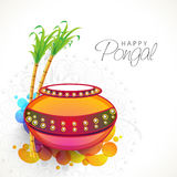 Mud pot with sugarcanes for Pongal celebration. Royalty Free Stock Images