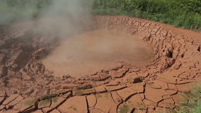 Mud pots in Valley of Geysers. Kamchatka Peninsula in the summer stock video footage