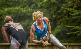 Mud race. A girl during a mudrace in Holland Royalty Free Stock Photos