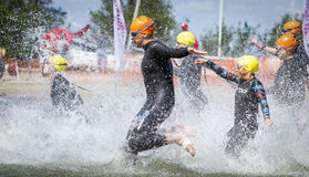 Triathlon. The swim start during a triathlon in Holland Stock Photo