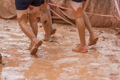 Mud race runner women crawling in the mud under obstacles royalty free stock photos