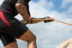 Mud race runners Royalty Free Stock Images