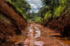 Mud on the railway line royalty free stock image