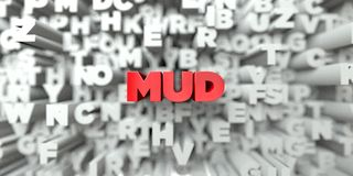MUD -  Red text on typography background - 3D rendered royalty free stock image Royalty Free Stock Photo