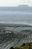 Mud ripples & Steep Holm Stock Photo