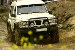 Mud road. C annual off road competition just started Royalty Free Stock Photo