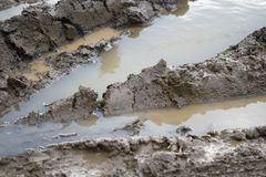 Mud road. A dirty road with tire tracks in wet mud Stock Images