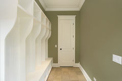 Mud room with green walls Royalty Free Stock Photography